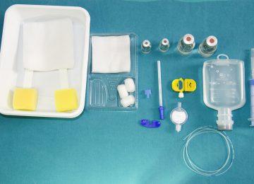 Epidural anesthesia set,Epidural nerve block kit with epiduralcatheter and gauze, betadine solution on sterile filed,